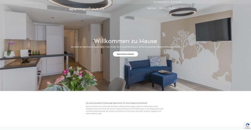 Webseite Apartmenthaus.ch